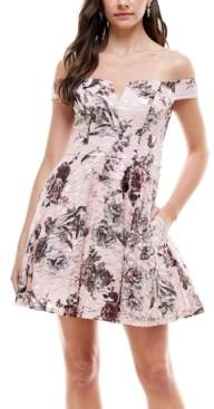 City Studios Juniors' Foil Lace Off-The-Shoulder Fit & Flare Dress