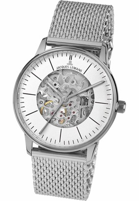 Jacques Lemans Unisex Adult Skeleton Mechanical Watch with Brass Strap N-207ZC