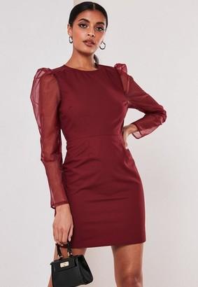 Missguided Burgundy Organza Sleeve Poplin Mini Dress