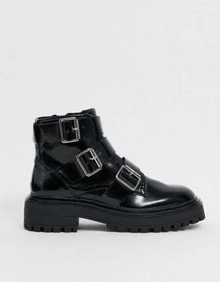 ASOS DESIGN Awaken biker boots in black
