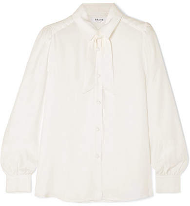 Frame Pussy-bow Washed-silk Blouse - Off-white
