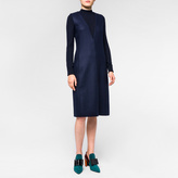 Paul Smith Women's Navy Wool Dress With Knitted Sleeves