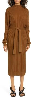 Proenza Schouler Button Back Long Sleeve Midi Sweater Dress