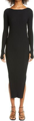 Totême Orville Rib Long Sleeve Midi Sweater Dress