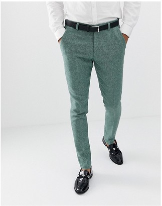 ASOS DESIGN wedding super skinny suit pants in green wool blend mini check