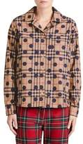 Burberry Polka Dot Check Print Cotton Shirt