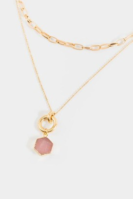 francesca's Emily Rose Quartz Layered Necklace - Blush