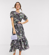 Dark Pink ruffle hem maxi tea dress in patchwork ditsy floral
