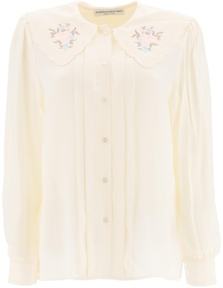 Alessandra Rich Scallop Collar Floral-Embroidered Blouse