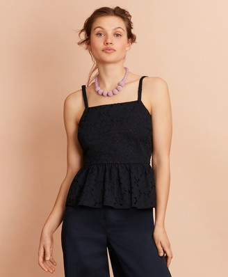 Brooks Brothers Floral Cotton Eyelet Peplum Top