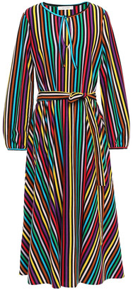 Chinti and Parker Belted Striped Cotton Midi Dress