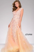 Jovani Lace Applique Sleeveless Pageant Dress 45825