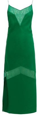 Marina Moscone - Lace Panelled Wool Blend Satin Slip Dress - Womens - Green