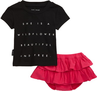 TINY TRIBE Wildflower Graphic Tee & Skirt Set