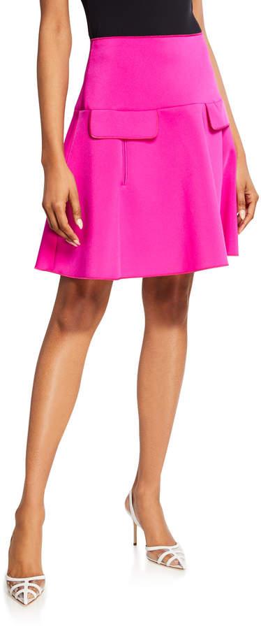 Oscar de la Renta A-Line Flap-Pocket Skirt