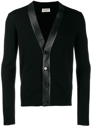 Saint Laurent leather trim V-neck cardigan