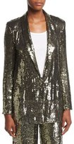 Alice + Olivia Jace Sequin Shawl-Collar Oversized Blazer
