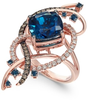 LeVian Le Vian Exotics Deep Sea Blue Topaz (5-3/8 ct. t.w.) and Diamond (3/4 ct. t.w.) Ring in 14k Rose Gold