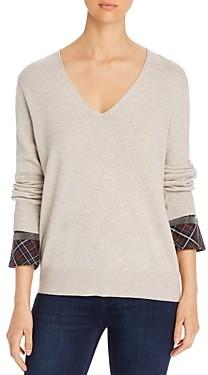 Fabiana Filippi Plaid-Cuff V-Neck Sweater