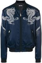 Just Cavalli dragon embroidered bomber jacket