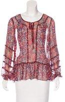 Anna Sui Silk Floral Print Blouse