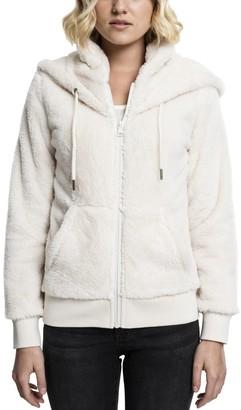 Urban Classics Women's Ladies Teddy Zip Hoody Hooded Sweatshirt
