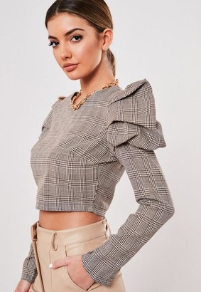 Missguided Brown Check Puff Sleeve Crop Top