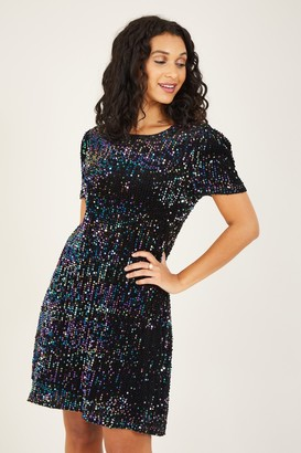 Yumi Black Sequin Tunic Dress