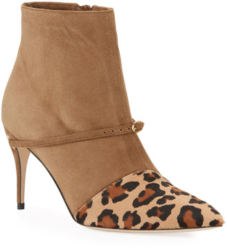 Jennifer Chamandi Nicolo Leopard Slanted Pony Booties