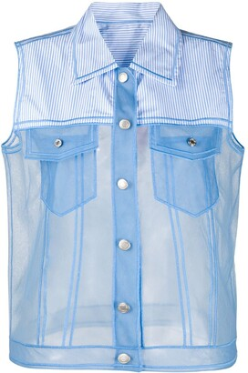 Viktor & Rolf Contrast Sheer Panel Sleeveless Shirt