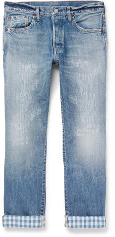 Co Fabric-Brand & Hai Slim-Fit Distressed Selvedge Denim Jeans