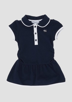 Emporio Armani Cotton Jersey Dress With Baby Collar And Contrasting Details