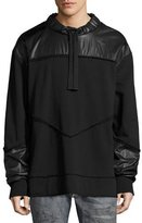 Diesel Mixed-Media Sweatshirt Jacket, Black