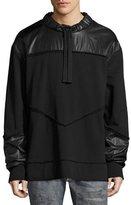 Diesel Mixed-Media Sweatshirt Jacket, Black