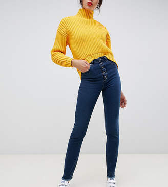 Asos Tall DESIGN Tall Farleigh high waisted slim mom jeans in dark london blue wash with exposed button fly