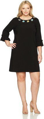 Tahari by Arthur S. Levine Women's Plus Size Bell Sleeve Shift Dress with Embellished Neckline