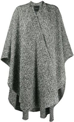 Ermanno Scervino Chevron Oversized Cape Coat