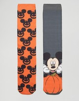 Asos Halloween Socks With Pumpkin Mickey Mouse Print 2 Pack
