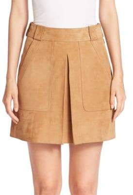 Vince Suede Inverted Pleat Mini Skirt
