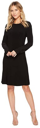 KAMALIKULTURE by Norma Kamali Long Sleeve Crew Dress To Knee (Black) Women's Dress