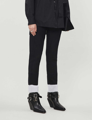 Ann Demeulemeester Contrast-cuff slim mid-rise wool trousers