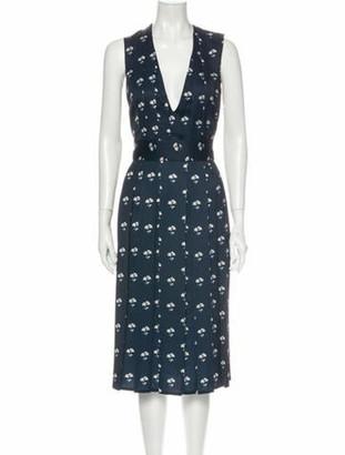 Victoria Beckham Floral Print Midi Length Dress Blue