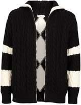 Saint Laurent Hooded Cable Knit Cardigan