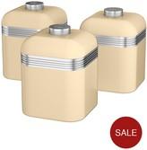 Swan Retro Set Of 3 Storage Canisters - Cream