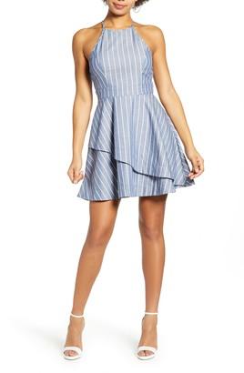 Speechless Stripe Cotton Blend Minidress