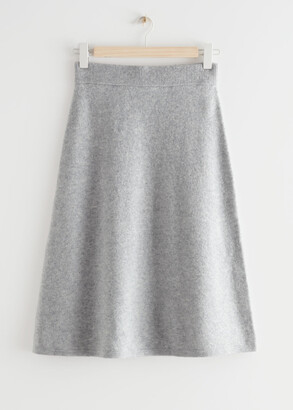 And other stories A-Line Wool Blend Midi Knit Skirt
