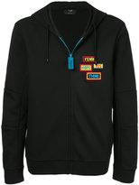 Fendi badge patch zip hoodie