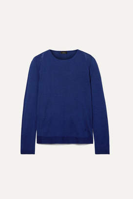 Akris Cashmere And Mulberry Silk-blend Sweater - Navy