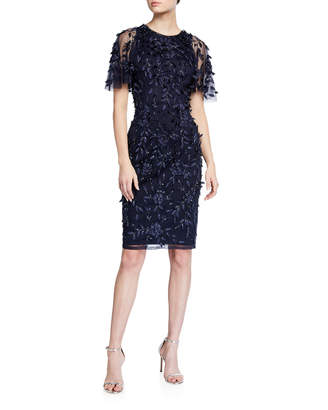 Theia Hand-Beaded And 3D Flutter-Sleeve Dress