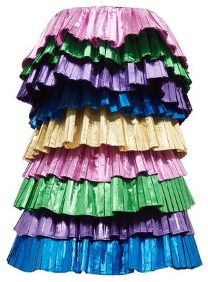 ATTICO The Samba Tiered Metallic Mini Dress - Womens - Multi